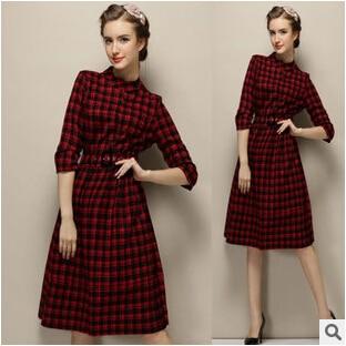 76f513960 Vestido de las mujeres Escocia collar Delgado nuevo invierno de manga larga  a cuadros de color rojo vestido de las mujeres del envío gratis en Vestidos  de ...