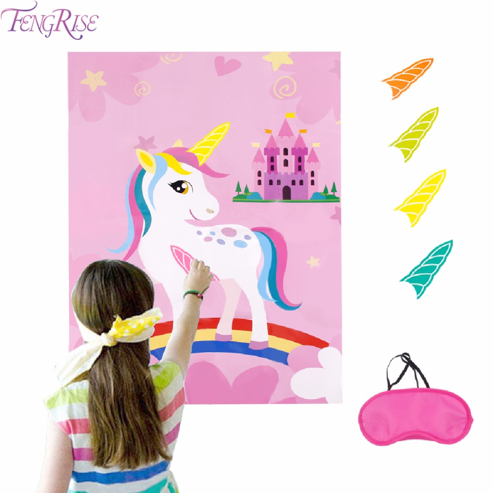 FENGRISE Pink Unicorn Party Game Supplies Birthday Party Decorations Kids Baby Shower Unicorn Decorative Festive Party Home Game