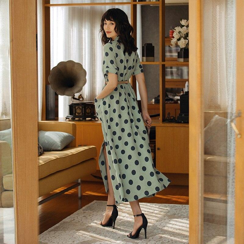 2019 VERRAGEE femmes été nouveau Long imprimé Dot robe Vintage Maxi robe - 3