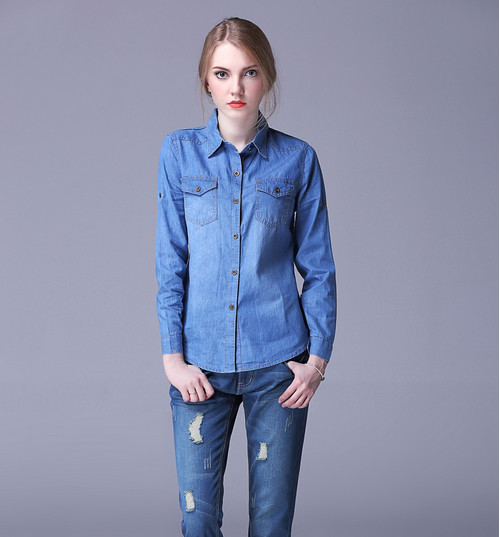 b9daf79fba9 2018 New fashion Autumn Spring women and lady s cotton jeans denim shirts  pocket women casual blouse