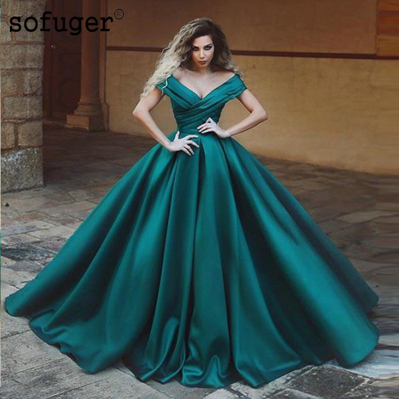 Green Satin New Arrival Pleat Sweetheart Off the Shoulder Ball Gown   Prom     Dresses   Custom Made Plus Lace Up back