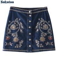 Sokotoo Women S Fashion Embroidery Mini Skirt Buttons High Waist Embroidered Blue Denim Jean Skirt