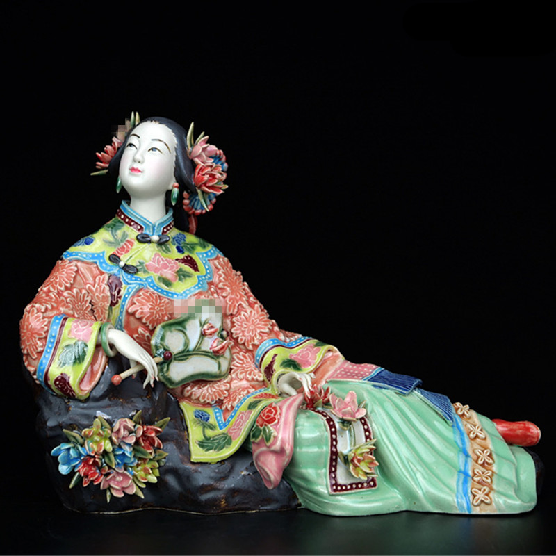 Antique Chinese Porcelain Figurine Home Decor Statue Figure Ceramic Ornament Classical Ladies Spring Craft Painted Art L3389
