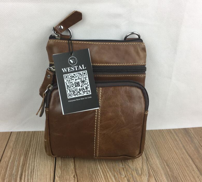 WESTAL Messenger Bag Men's Shoulder Genuine Leather bags Flap Small male man Crossbody bags for men natural Leather bag M701 22
