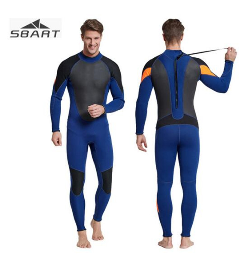 SBART 3mm Neoprene Men Scuba Diving Wetsuit Kite Surfing Snorkeling Full Body Swimwear Water Sports Triathlon