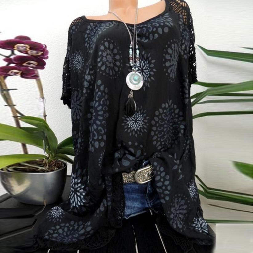 Plus Size S-5XL Tops Summer Lace Women Blouse Patchwork Floral Printed Batwing Short Sleeve Shirt 2018 Tunic Blusas Feminina#ghc 4