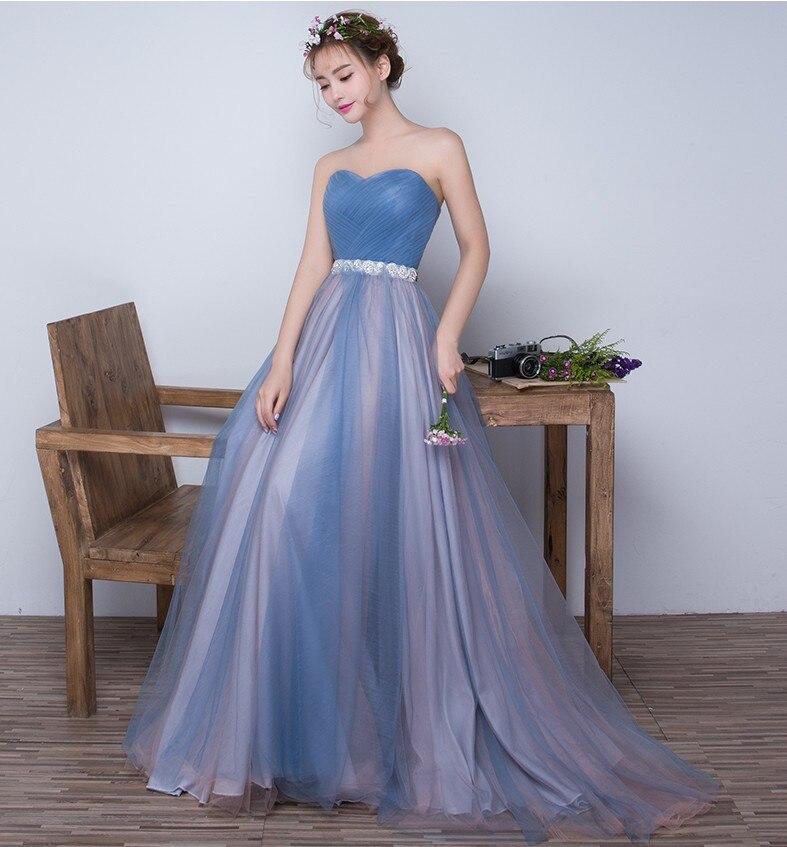 Купить с кэшбэком Beauty Emily High Quality Tulle Long Short Bridesmaid Dresses Elegant Formal A-line Vintage Party Prom Dresses Off the Shoulder