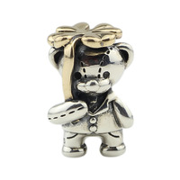 Lucky Clover Bear Charms Four Leaves Animal Bead Fit Authentic Troll Bracelet Silver 925 Charms Original Sterling Silver Jewelry