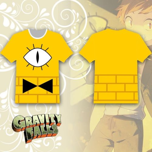OHCOMICS Hot Anime Gravity Falls Bill Cipher Yellow Cotton T Shirt Tee Roundneck Tops Summer Short Sleeve Costume Blouse In Costumes From