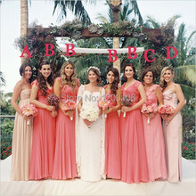 Cheap Mix Styles Ruched/Pleats/Ruffle Pink Red Chiffon Floor Length Long Coral Bridesmaid Dresses 2014 Vintage