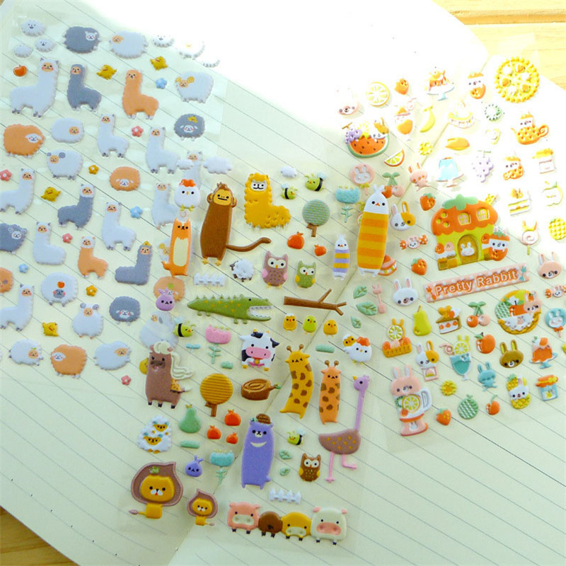 3Pcs Randomly Children Stickers Toys Stationery Cartoon Pattern 3D Bubble Leather Diary Decoration Pasting Mobile DIY Stickers in Craft Toys from Toys Hobbies