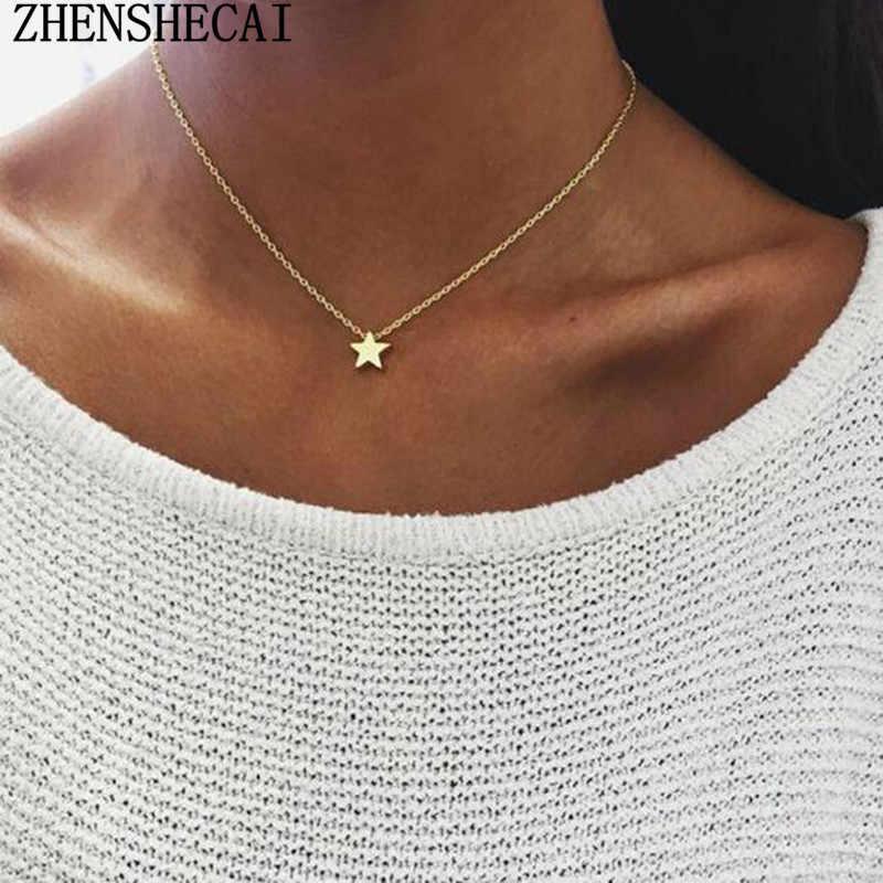 Thời trang Vàng Màu Mặt Dây Chuyền Ngôi Sao Vòng Cổ Chuỗi Ngắn Layered Choker Vòng Cổ Nữ Statement Cổ Áo Đồ Trang Sức Bijoux Quà Tặng x51