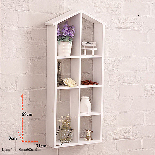 Handmade Simple Design White Wood House Shelf Wall Rack