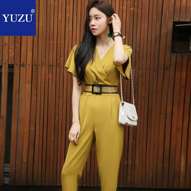6567e0824346 Yellow Jumpsuit Fashion Nova Woman Ruffle Short Sleeve V Neck With  Transparent Belt High Quality Black