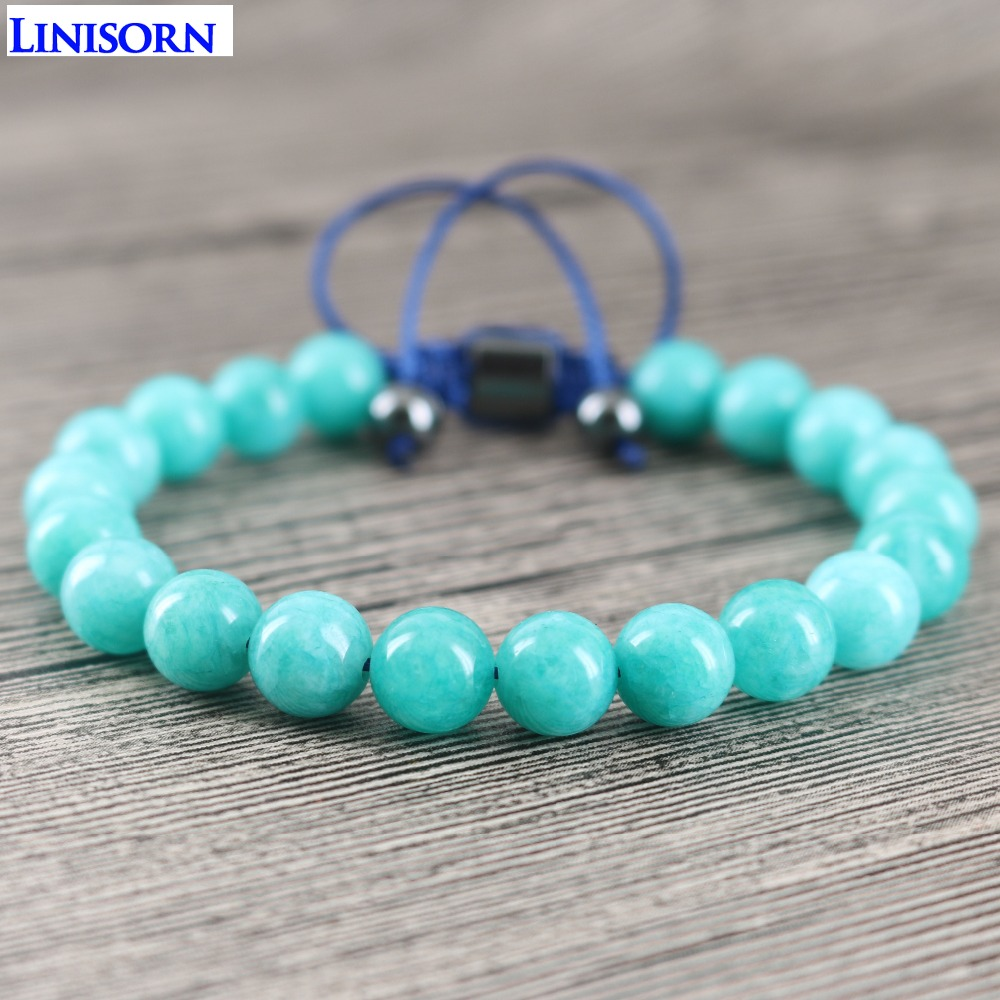 LINISORN Light Blue 8 mm Loose Stones Hematite Braided Manual Women Wrap Bracelets OL style Health Couple Jewelry