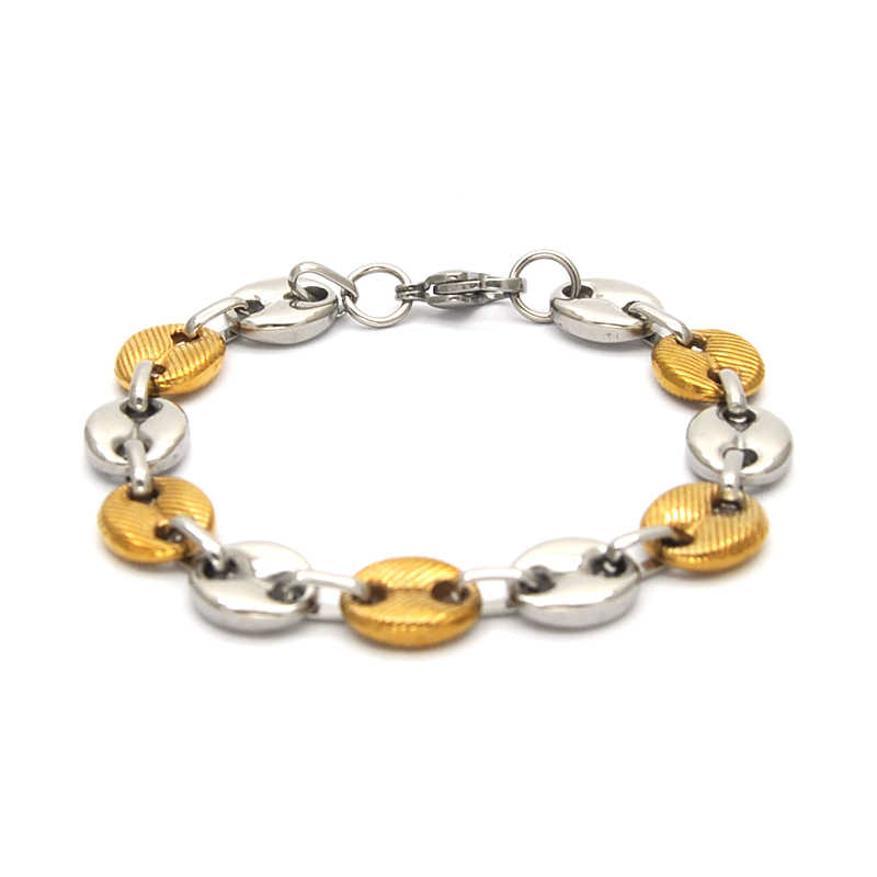 mujer pulseras wholesale stainless steel women bracelet jewelry silver & gold color small coffee bean bracelet for gifts Br05061
