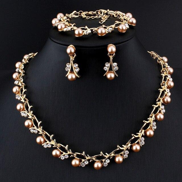 Jiayijiaduo Hot Imitation Pearl Wedding Necklace Earring Sets Bridal Jewelry Sets for Women Elegant Party Gift Fashion Costume 1