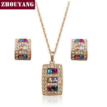 ZYS044 Multicolour Crystal Rose Gold Color Jewelry Necklace Earring Set Rhinestone Made with Austrian SWA Element Crystals