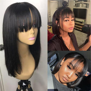 Simbeauty Wig Brazilian Bangs Human-Hair Hairline-Fringe Short Bob Lace-Front Pre-Plucked
