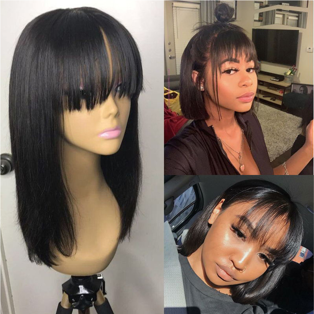 SimBeauty court Bob dentelle avant perruque de cheveux humains brésilien Remy cheveux avec frange pré plumé naturel délié frange perruque pour les femmes