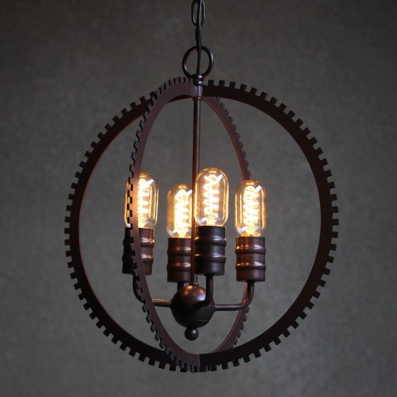 Loft Metal Gear Staircase Bar Counter Pendant Lamps Creative Industrial Global Restaurant Hanging Lamp Dining Room Pendant Light