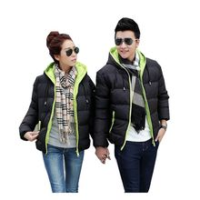 Latest Winter Fashion Lovers clothes Casual Hooded Thickening Warm Unisex Short Coat Patchwork color Slim Big