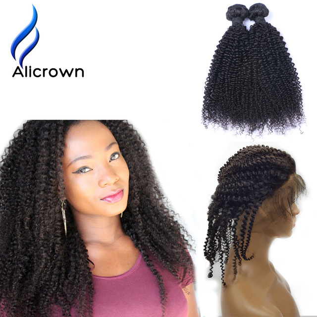 Alicrown Hair 360 Lace Virgin Hair Kinky 22x4x2 Pre Plucked Lace Frontal Closure with Bundles Brazilian Virgin Hair With Frontal