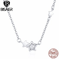 BISAER 925 Sterling Silver Sparkling Star CZ Link Necklaces Pendants Women Necklaces Fine Sterling Silver Jewelry