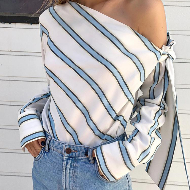 SHUJIN Women Sexy Chiffon Shirt Single Shoulder Blouse Summer Ladies Elegant Top Striped Tops Streetwear Blusas Camisas 2019