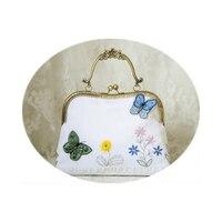 Doppel-side Stereo Stickerei Schmetterling Handtasche Floral Kuss lock Verschluss Crossbody Weiß Taschen Vintage Frauen Messenger Bags