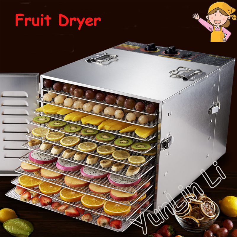 10 Tray Dehydrator Stainless Steel Nuts Dry Machine Fruits and Vegetables Dehydration Drying Machine Pet Food Dryer household 10 tray 110 220v food drying machine fruits dryer and vegetables drying machine pet food dryer