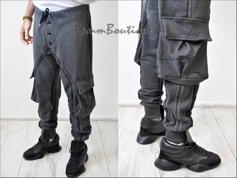 Dark Black Men's Military Cargo Pants Loose Fit Biker Multi Big Pockets Utility Sweatpant Joggers / Tapered Fit Round Knit Butto