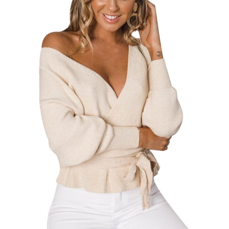 Women Sweater With Belt Solid Sexy V-Neck Laced Plus Size Backless Long Sleeve Casual Winter Autumn Loose Tops