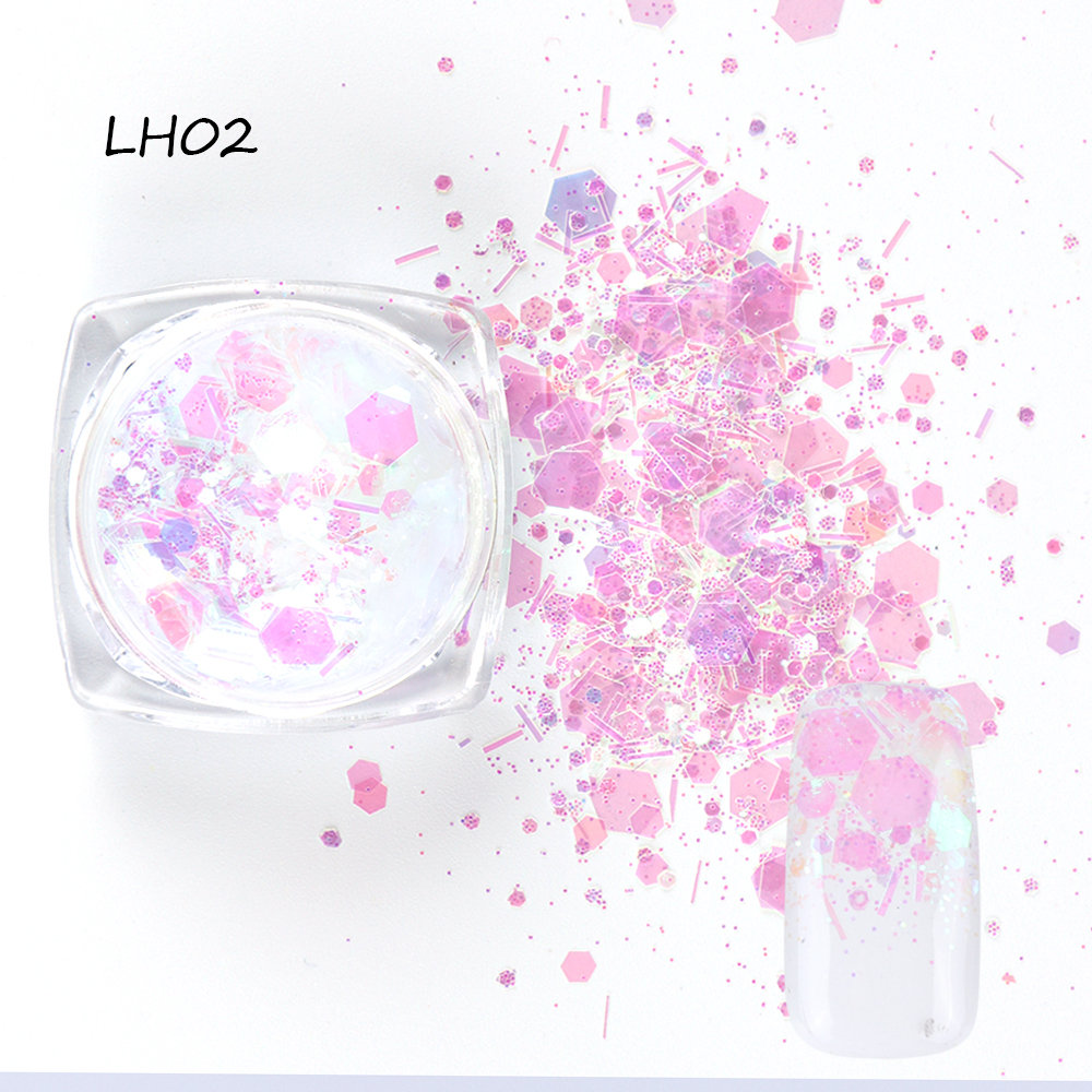 1 Bottle Mixed Laser Colorful Sequins Nail Glitter Thin Metal Hexagon Star Heart Flakes Nail art Manicure Decor LALH01-04 (5)