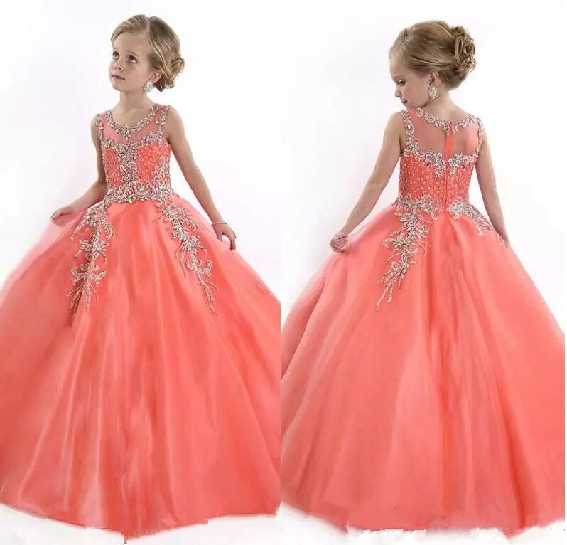 New Ball Gown for Little Girls Pageant Dresses Princess Sheer Tulle Crystal Beads Floor Length Flower Girls Dress Birthday Gown 4pcs new for ball uff bes m18mg noc80b s04g