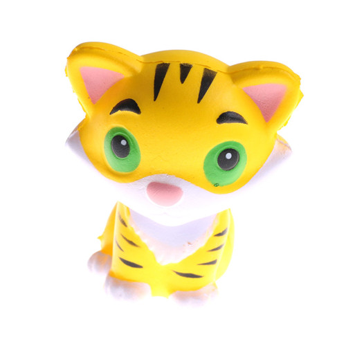 Beautiful Kawaii Tiger Squeeze Jumbo Squishy Bread Soft Scented Cake Toys Doll Gift Super Slow Rising Animal Phone Straps Mobile Phone Straps