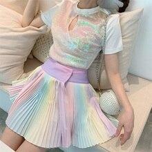 Милая Радужная плиссированная юбка, Женская разноцветная шикарная модная мини-юбка для Harajuku, Лолита, розовая, летняя, uzzlang, Корея, стиль