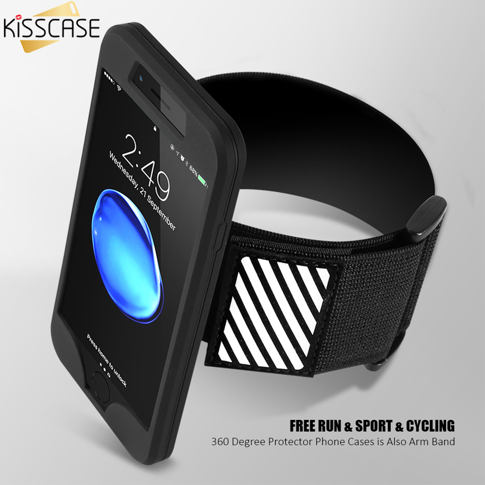 KISSCASE Cool 2 in 1 Case For iPhone 6 6S 7 5 SE 5S 7 Plus 6 6S Plus Case Hybrid Dual Use Arm Band Silicon Cover For iPhone 6 7