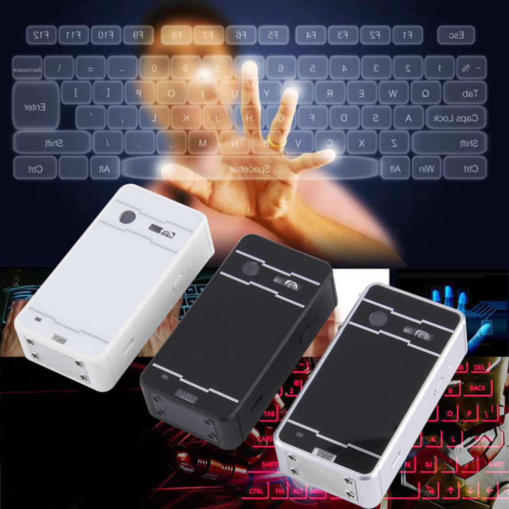 цена на White Wireless Bluetooth Laser Virtual Projection keyboard for iPhone iPad Tablet Laptop Android Smart Phone