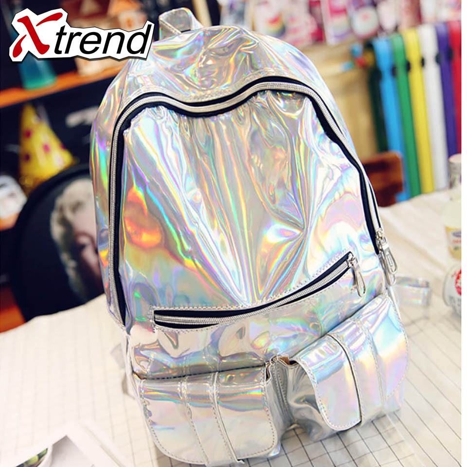 Xtrend Laser Sequins Women Backpack High Quality Soft Pu Leather School Bags For teenager girl New Letter Black Backpack Women high quality southern laser cast line instrument marking device 4lines ml313 the laser level