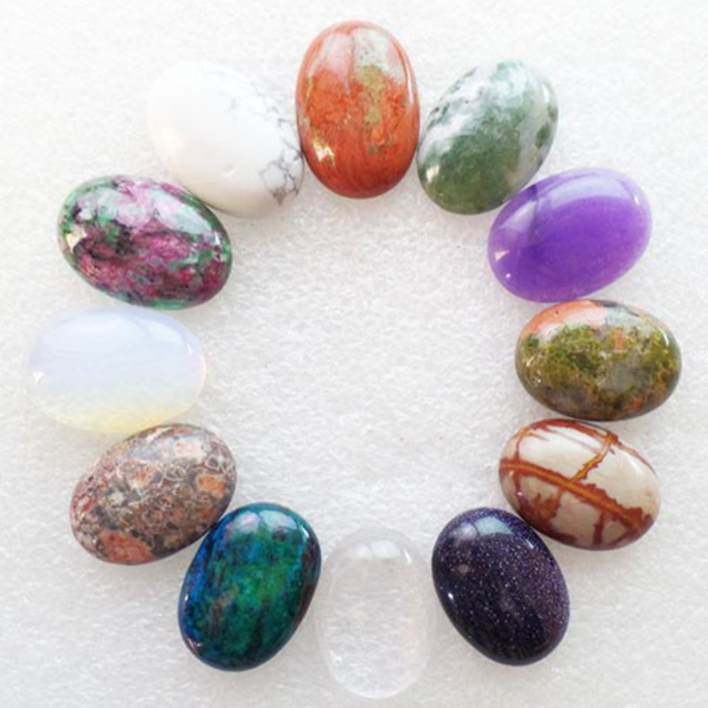 (12 pieces/lot) Wholesale Natural Mixed Stone Oval CAB Cabochon 25x18x6mm Free Shipping Fashion Jewelry J413