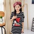 New Baby Девушки Рубашку Осень Зима Мода корейских Детей Плюс Бархат Полосатый Длинные Потепление Одежда Повседневная Девушки Pattern Горячая