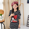 New Baby Girls Shirt Autumn Winter Fashion Korean Children's Plus Velvet Striped Long Warming Clothing Casual Girls Pattern Hot