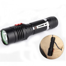 Hot Black LED Flashlight Cree XML-T6 3800lm 3 Mode Tactical Hunting Light USB Charging Mini Glare 1865 0 Flashlight xml t6 micro usb charging hunting bike flashlight 18650 side press adjustable focus