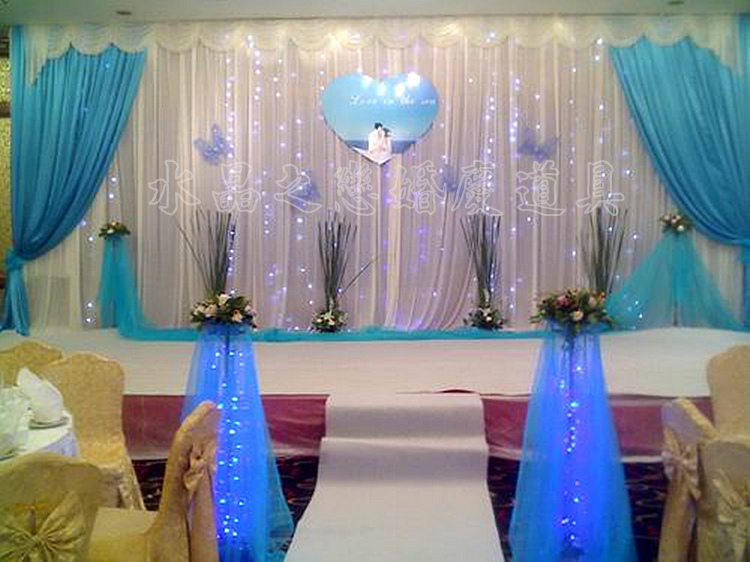 New Design 3m 6m Ice Silk Tiffany Blue Swags And Drapes