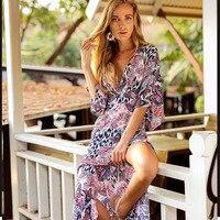 2019 NEW Beach Dress Open Back Swimwear Sexy Bikini Beach Cover ups Wrap Pareo Dress Towel Flower V Neck 5ZC0153