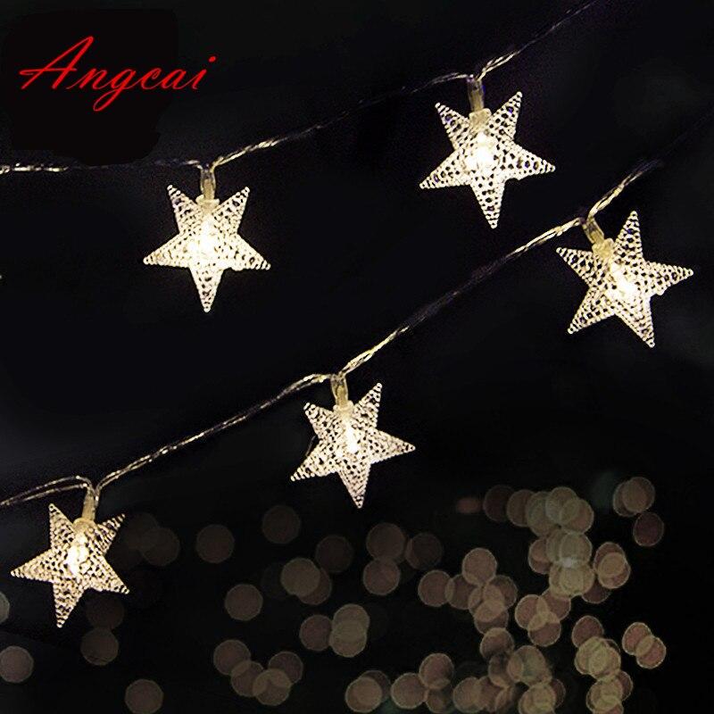 2 м 3 м 4 м 5 м Батарея работает 10 м AC110-220V Подключите Строка Фея новый светодиодные звезда цветок Рождество домой гирлянды декора