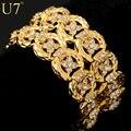 U7 Big Size Chain Bracelets Bangles Unisex WomenMen Jewelry Trendy Gold Plated Rhinestone 33 MM Wide Bracelet H498