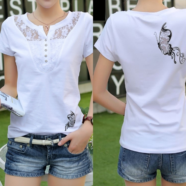 4d4724214 Free delivery Summer T-shirt Women Casual Lady Top Tees Cotton White Tshirt  Female Brand Clothing T Shirt Top Tee Plus Size