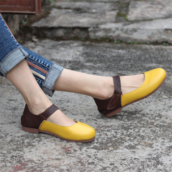 Women Genuine leather flat shoes barefoot Casual Shoes woman Flats ballerinas sneakers Female Footwear shoes 2019 yellow brown leather